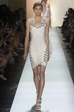 "NWT Authentic Herve Leger ""Frida"" XS Off-White Runway Macrame Dress - $3,500"