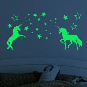 Luminous Unicorn Wall Stickers Kids Room Home Decor Glow Fairy Dark Stars Decal