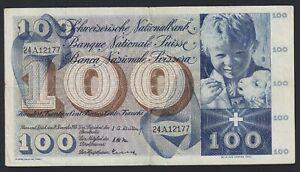 Switzerland 100 Francs 1958 BB Vf- B-07