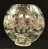 Crystal bowl. American Brilliant Period? Nicely cut glass fish bowl.  Roses.