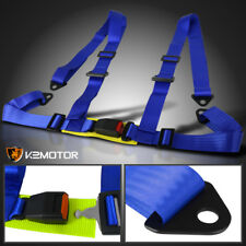 Blue Racing Seat Belt Buckle 4Pt 4 Point Nylon Strap Safety Harness Universal