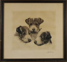 Kurt Meyer-Eberhardt Three Dogs Puppies Etching Print Pencil Signed