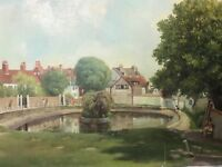 English Circa 1960's Oil Painting Rottingdean Village Park East Sussex Signed