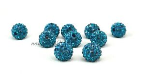 10pcs Peacock Blue Shamballa Beads Disco Ball Large Hole Multi-Buy Discount