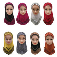 Children Kids Girls Scarf Hijab Muslim Headscarf Islamic Shawls Arab Wrap Hijab