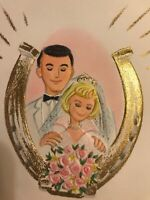 Vintage Fathers Day Card Hallmark Husband wife Bride Groom Horse shoe