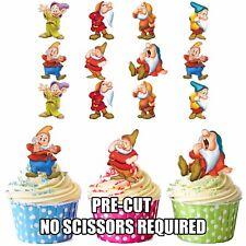 PRETAGLIO DISNEY bianco neve 7 DWARFS 12 topper commestibili per cupcake