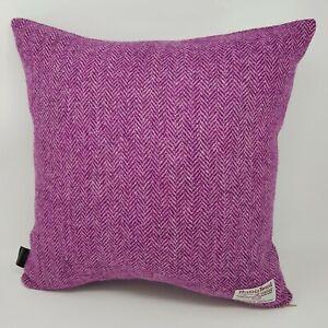 Harris Tweed herringbone pink burgundy cushion cover handmade genuine all sizes