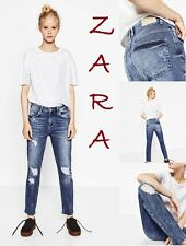 ZARA Slouchy Ankle Cut Ripped Jeans New (R$54) Mid-Rise Blue Jeans Size S (US 4)