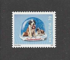 Art Postage Stamp Saint St Bernard Dog Switzerland Snow Globe Mnh