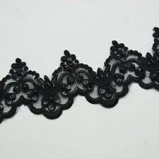 5yards Black color Pearl Beaded & Sequin Bridal lace trim 12colors Wide:6cm