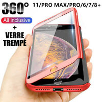 Coque 360 pour iPhone XS Max XR 11 Pro 6s 7 8 Plus 5 Protection Antichoc + Verre