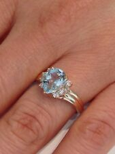 Natural Aquamarine with Natural Diamond Cluster Ring Solid 10kt Yellow Gold