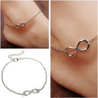 Infinity Ankle Anklet Chain Bracelet 25cm  Silver or Gold Colour. UK SELLER