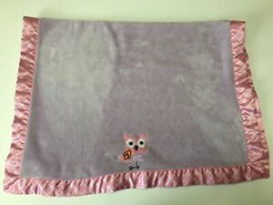 BananaFish Baby Owl Soft Purple & Pink Satin Trim Baby Blanket RN#121332