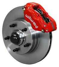 "WILWOOD DISC BRAKE KIT,FRONT,64-74 GM,11"" 1 PIECE ROTORS,4 PISTON RED CALIPERS"