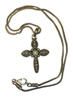 Vintage SILPADA 925 INDIA Sterling Silver Cross Pendant Wheat Chain Necklace 15g