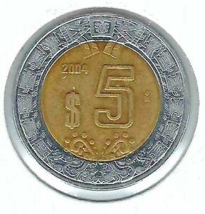 2004 Mexico  Circulated 5 Pesos Coin!