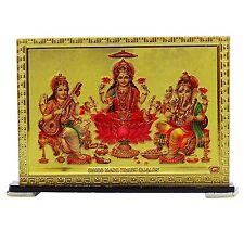 Saraswati Laxmi Ganesha Portrait Table Car Dashboard Office Decor Religious