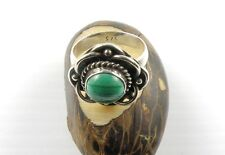 Sterling Silver Ring With Round Shape MALACHITE Stone Size 8