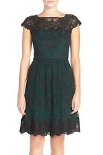 Adrianna Papell Embroidered Lace Fit & Flare Dress Black Green 16