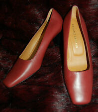 ❄️ New 5.5 Designer Roland Cartier Burnt Red Square Leather Shoes Spare heels