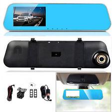 Dual Lens Rear View Mirror Car Camera 4.3 LCD HD Driving Recorder DVR Monitor