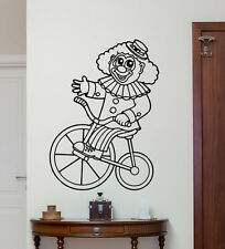 Circus Clown Bike Wall Decal Nursery Kids Vinyl Sticker Art Decor Mural 250xxx