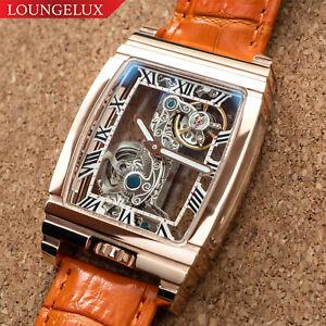 Mens Rose Gold Bridge Manual Mechanical Watch - Orange Leather DIASTERIA 1688W