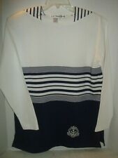 Nautical design Blue and white long sleeve T-shirt by G.W. Design Studio  Sz S