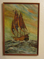 Vintage Oil Painting On Board 'The Ship' Signed By CWT - 1972