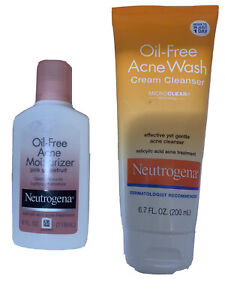 Neutrogena Bundle Oil Free Acne Wash Cream Cleanser & Oil Free Moisturizer