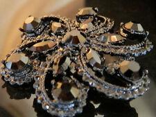 Japanned Black Rhinestone Enamel Flower Vintage 50's Mourning Brooch 201D6