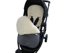Grey Melange GOOSEBERRY FOOTMUFF PRAM SEAT LINER 2in1 Lambs Wool Universal fit
