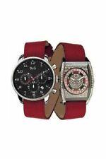 D&G Reloj David Acero Inoxidable Plata Pulsera de Cuero Rojo Cuarzo Analógico