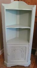 Shabby Chic Pale Sage Green Corner Oak Display Unit with Cupboard and Shelves