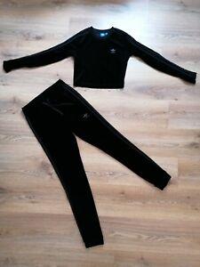 Adidas black velvet tracksuit small size