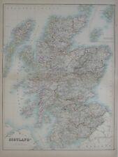 Original 1890 Black Map SCOTLAND Edinburgh Glasgow Inverness Aberdeen Loch Ness