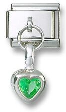 Italian Charm Dangle Birthstone Heart CZ Sterling Silver August Stainless Steel