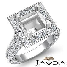 Princess Diamond Engagement Vintage Ring 14k W Gold Halo Pave Semi Mount 2.1Ct