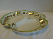 Nippon Shamrock shaped candy dish w/ handle Handpainted Green w/ Gold trim, used