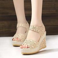 Summer Wedge Sandals Shoes Women Ladies High Platform Open Toe Ankle Strap Shoes