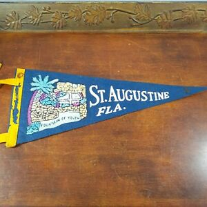 Vintage Pennant Florida St Augustine 11 in Fountain of Youth Navy travel tourist