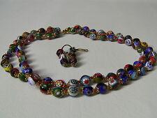 Vintage Millefiori Venetian Murano Art Glass Bead Necklace Earrings Set, Italy