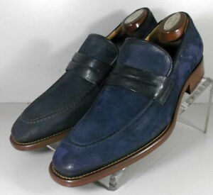 242057 DFi60 Men's Shoes Size 9 M Navy Suede Made in Italy Johnston & Murphy