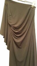 OLI BLACK EMBELLISHED MAXI DRESS Jewel Waist NO Shoulders LONG FRILL UK 10 EU 36