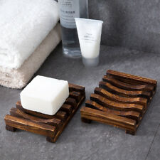 2Pcs Natural Handmade Wooden Soap Dish Soap Holder Soap Case For Bathroom Shower
