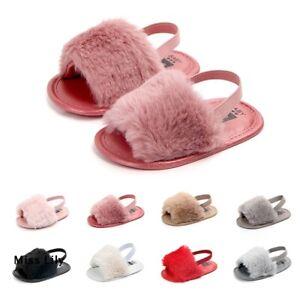 Fluffy Slippers Sandals Shoes Soft Pram Infant Sole Girls Fur Toddler Baby Crib