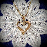 """Heart PENDANT/NECKLACE💖9k/375 Yellow GOLD w Diamonds on 18"""" 9k/375 Gold CHAIN"""