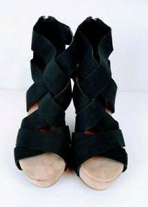 Madeline Black Wedge Heel Slip On Sandals Shoes - (7 1/2 M)